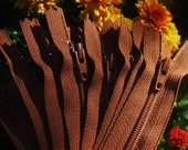 5 inch YKK zippers, medium brown, 25 pcs, dress, all purpose zippers, number 3 coil, YKK color # 859