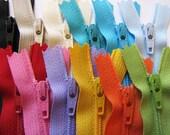 3 inch zippers - 12 YKK zipper assortment - black, beige, vanilla, turquoise, aqua, light blue, red, pink, lavender, sunflower, orange, kiwi