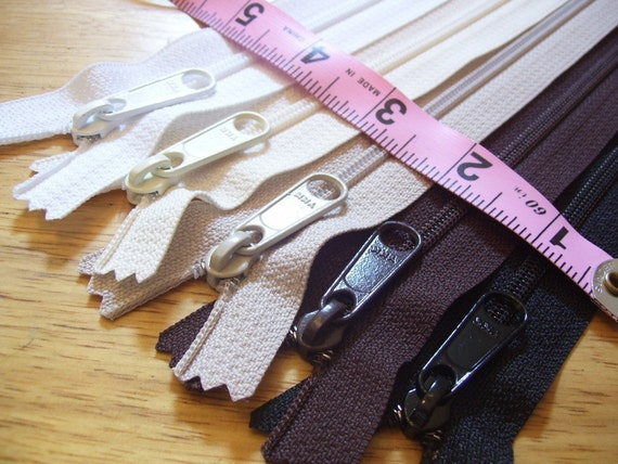 Five 12 inch Hand bag YKK zippers with extra long pull - nylon coil 4.5 - black, brown, beige, vanilla, and white