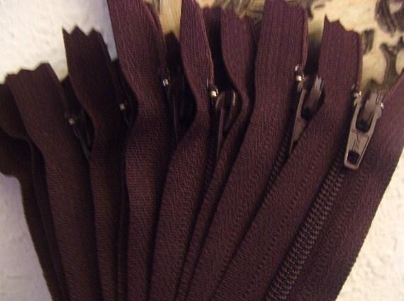 Ten 6 inch YKK zippers - brown color no. 570