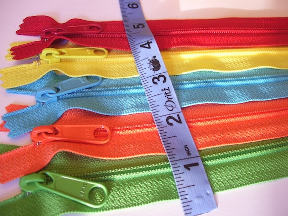 RESERVED FOR AMBER: Five 10 inch Handbag zippers - bright green, orange, aqua, yellow, red