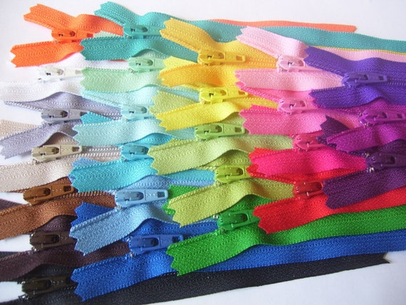 5 inch YKK zippers - 25 zippers - black, brown, beige, grey, white, eggplant, blue, turquoise, green, red, pink, orange, yellow, purple