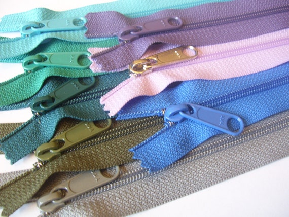 Eight 18 inch Handbag YKK zippers with long pull - gray, olive, teal, blue, purple