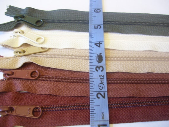Handbag zippers - Five 18 inch YKK zippers with long pull - brown, beige, vanilla, and olive