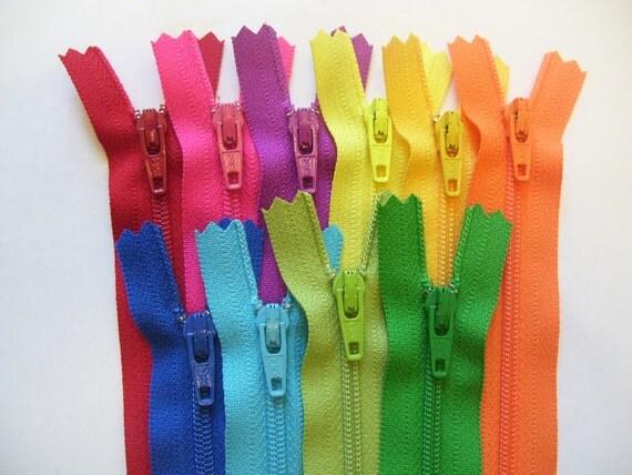 5 inch Zippers - 10 zipper assortment - royal blue, aqua, kiwi, lime green, orange, sunflower, bright yellow, purple fuchsia, hot pink, red