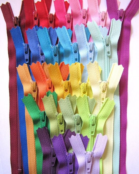 SALE - 25 x 7 inch YKK zippers in 25 bright, light, and deep colors