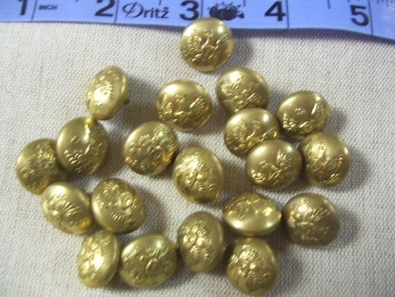 A set of 35 matching Metal old unused antique vintage suit buttons with Eagle.