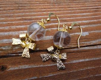 Gold Bow Earrings/ Cute Bow Earrings / Girly Earrings