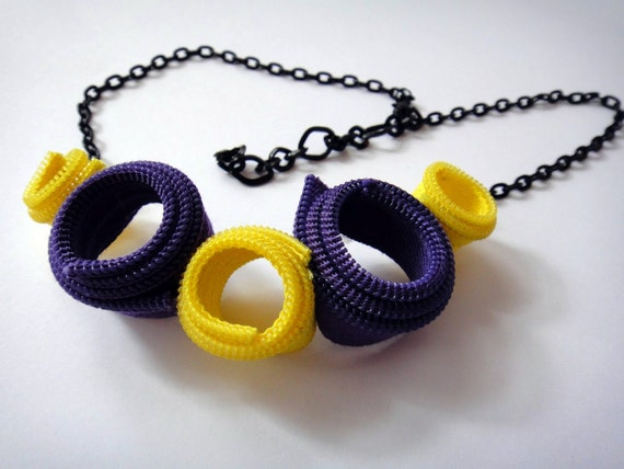 Zipper Necklace, Purple, Yellow, Black Chain, Edgy Necklace,