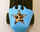 Blue Leather Toe Guards with Leopard Star