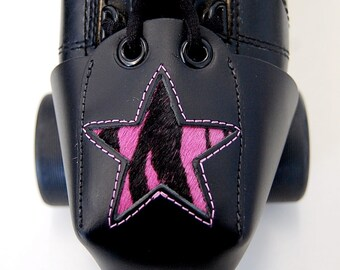 Leather Skate Toe Guards with Pink Zebra Print Star