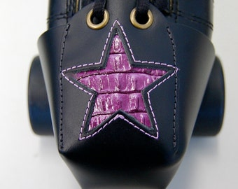 "Leather Skate Toe Guards with Purple ""Gator"" Stars"