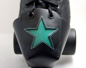 DA-45 Leather Skate Toe Guards with Teal Stars