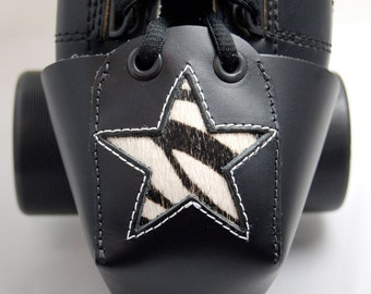 Leather Skate Toe Guards with Zebra Print Star