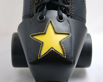 Leather Skate Toe Guards with Yellow Stars