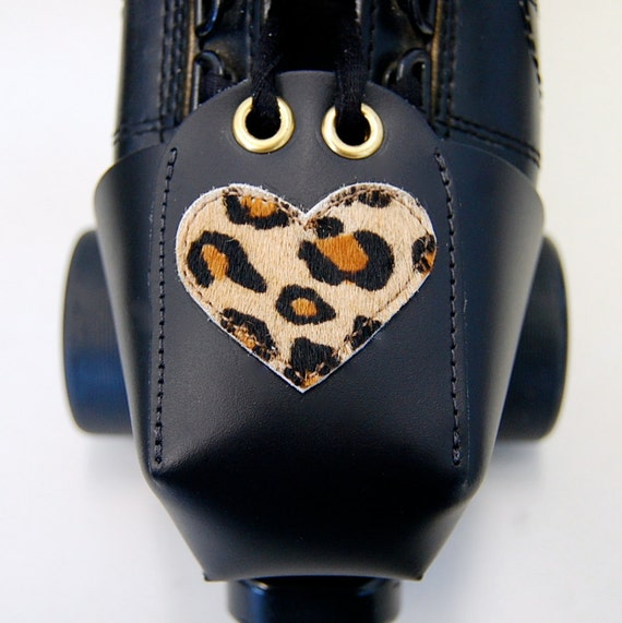 Leather Toe Guards with Leopard Heart