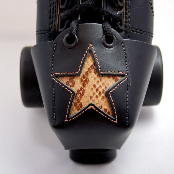 Leather Toe Guards with Faux Snakeskin Star