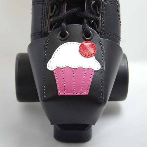 Leather Toe Guards with Pink and White Cupcakes