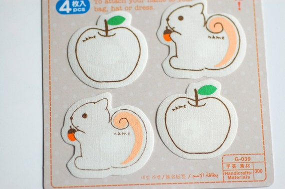 Squirrel and Apple Iron-On Name Labels
