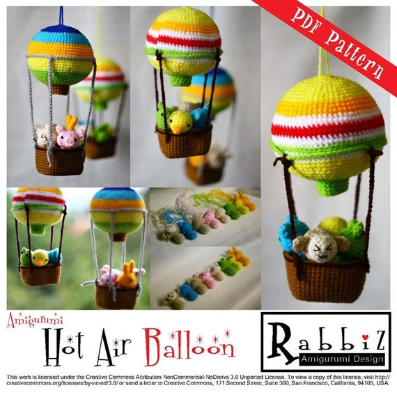 PDF Pattern Amigurumi Hot Air Balloon with Animals