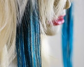 S T A R R Y . N I G H T jet Black and teal Aqua Marine blue human hair clip in accent extension PAIR