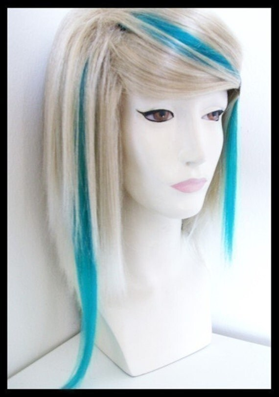 A PAIR of bright vivid TEAL TURQUOISE blue human hair clip ins