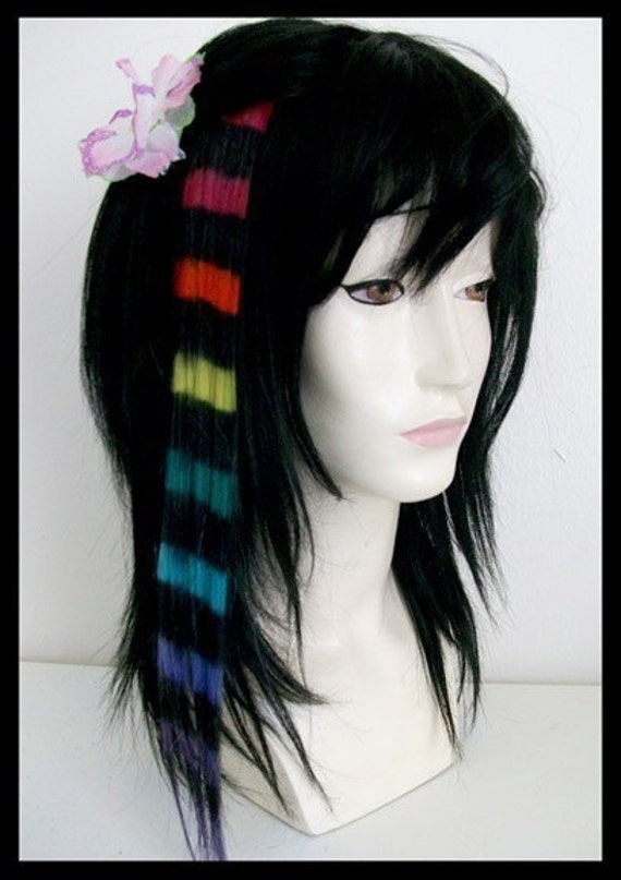 last one - the D A R K . R A I N B O W ... human hair clip in accent chunk extensions dark rainbow