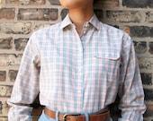 Vintage Womens Liz Claiborne Pastel Plaid Long Sleeved Collared Shirt (sz S M)