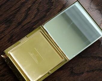 Vintage 60's Avon Brand Tri Fold Brass Mirrored Compact