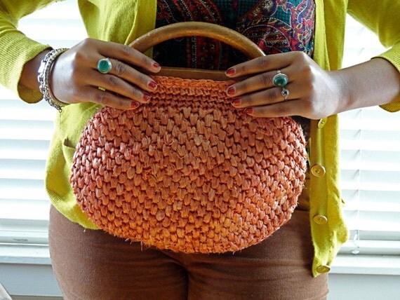 Vintage Orange Straw Handbag Clutch Purse With Wooden Handle