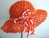 Crocheted natural raffia Orange Summer Sun Hat
