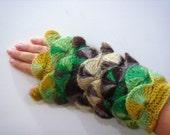 Brown  navy Olive green Emerald  Yellow yarn Fingerless Mittens