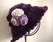 Crocheted Purple Amethyst Beret With Flower