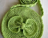 Neon Colors Green circle crocheted bag with  Bow And Floral Fabric