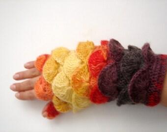 Yellow  orange Brown Burgundy yarn Fingerless Mittens Gloves No 12