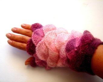 Pink Opal  yarn Fingerless Mittens Gloves