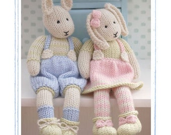 Knitting Patterns For Toy Rabbits : 2 Knitting Patterns/ LILY & SAMUEL...Spring Baby Bunnies/ Rabbits/ Pdf To...