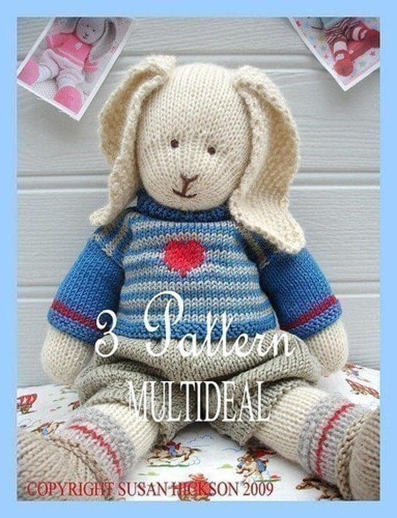 3 Knitting Patterns/Tearoom Bunnies/ PDF Knitting Patterns/ Bunny Collection/ Plus FREE 'Handmade Shoes' Knittinig Pattern/ INSTANT Download