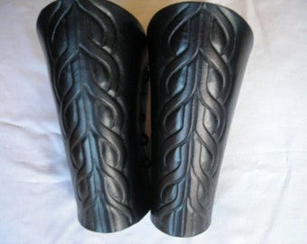 Celtic link Leather Bracers, leather cuffs, hand carved leather, armor, Cosplay