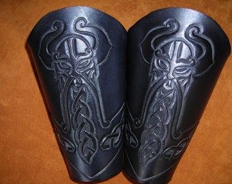 Thor's Hammer Leather Bracers. Gauntlets, leather armor
