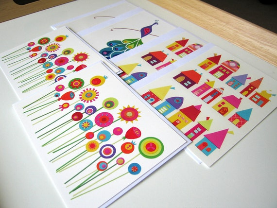 6 'houses, peacock and flowers' Postcards with Envelopes