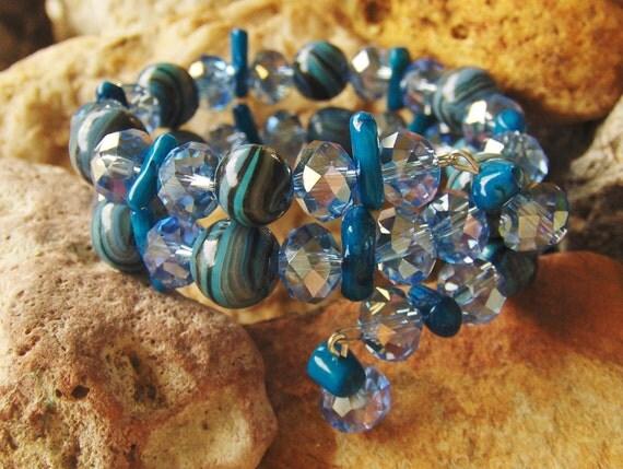 Sparkling Blues Memory Wire Bracelet