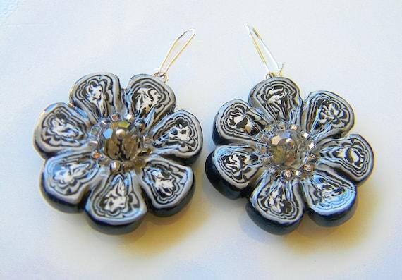 Shadow Dancers -  Sparkling Flower Dangle Polymer Clay Handmade Earrings