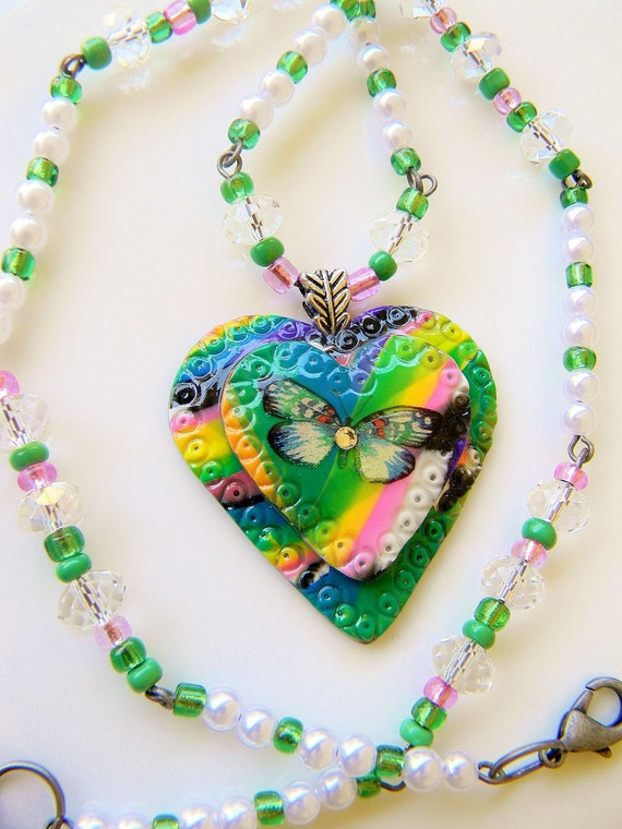 BIG SALE - Use 30Percent Coupon -  Rainbow Butterfly Pendant Necklace