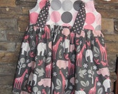 Darling Knot Dress or Top - Sizes 6mo - 5T - Zoology in Pink and Gray