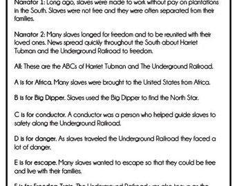 Harriet Tubman & the Underground Railroad: A Reader's Theater Script