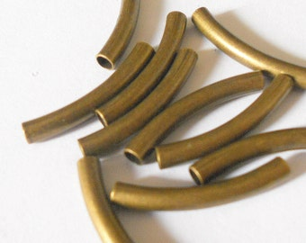 Curved tubes, antique brass curved tubes, brass tubes, findings, jewelry supplies,  20mm brass tubes, 10pc
