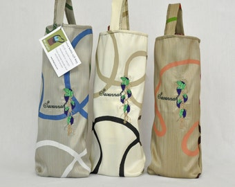 Custom Embroidered Wine Bottle Gift Bag Tote from Upcycled Fabric