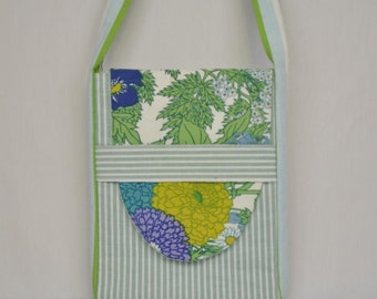 """Eco 12"""" Padded Laptop Bag with Green and White Stripes and Flowers"""
