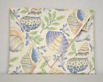 """Eco 12"""" Padded Laptop/Tablet Sleeve Sea Shells Upcycled Cotton Fabric"""